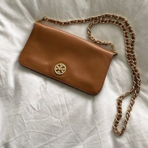 Tory Burch Camel / Gold Crossbody Chain Wallet